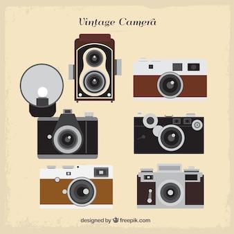 평면 레트로 카메라의 컬렉션