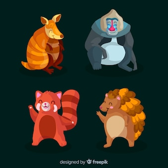 평평한 열대 동물의 컬렉션