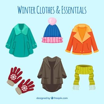 平らな冬の服のコレクション