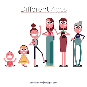 異なる年齢のフラットな女性のコレクション