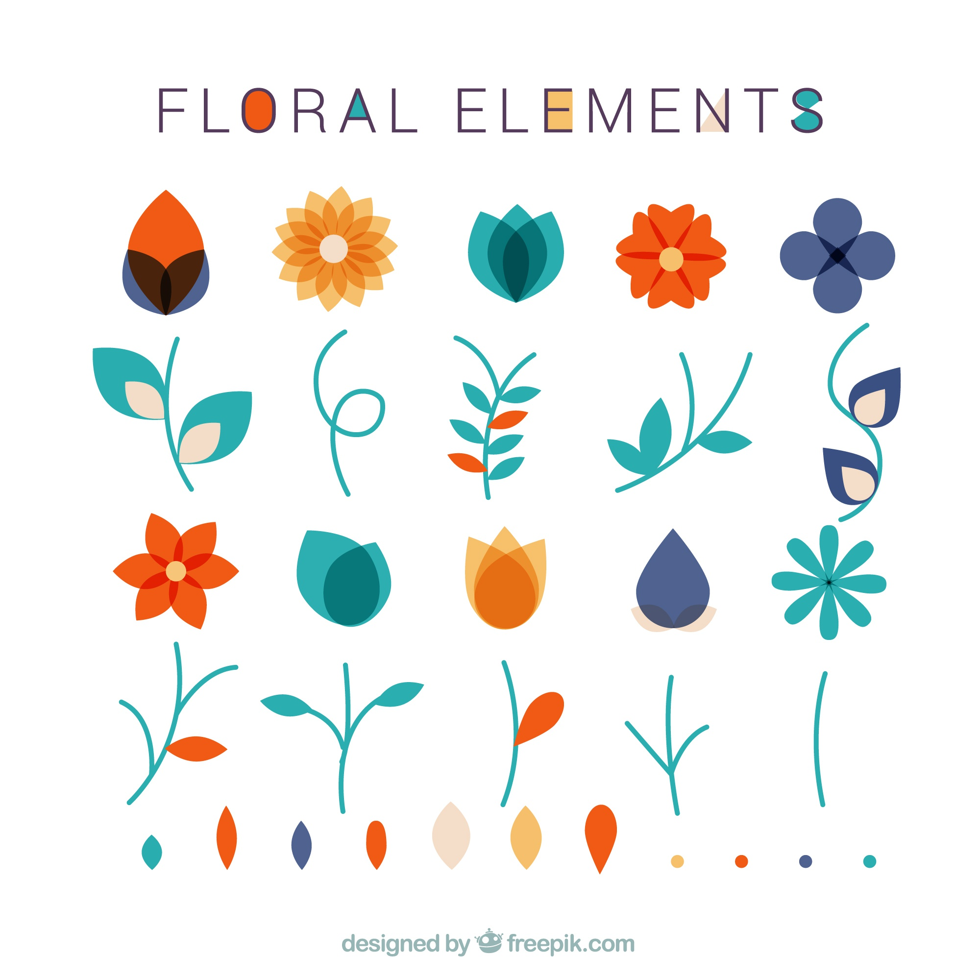 Collection of floral elements and leaves