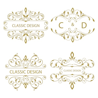 Collection of floral ornament logo