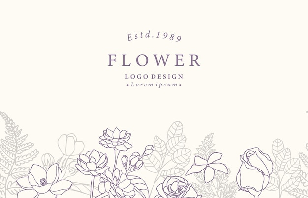 Коллекция цветочного фона с жасмином, розой