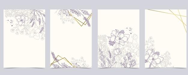라벤더, 목련 세트 꽃 배경의 컬렉션입니다.