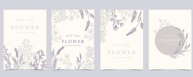 ラベンダーをセットした花の背景のコレクション