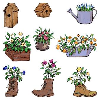 植木鉢、木造の巣箱のコレクション。ヴィンテージガーデンセット。手描きのベクトル図です。デザイン、装飾、プリントのために白に分離された花のカラフルな要素。