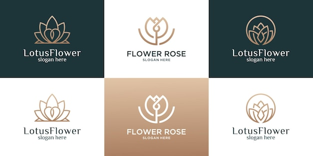 Коллекция цветов с шаблоном дизайна логотипа линии.