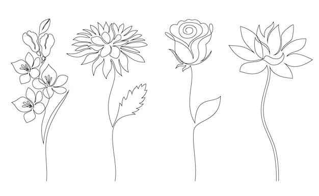 Коллекция цветов в рисованной