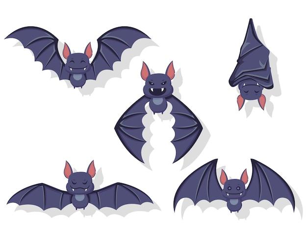 비행 박쥐의 컬렉션입니다. 다른 포즈에서 개념 만화 박쥐입니다. 할로윈 요소 집합입니다. 벡터 클립 아트 그림 흰색 배경에 고립입니다.