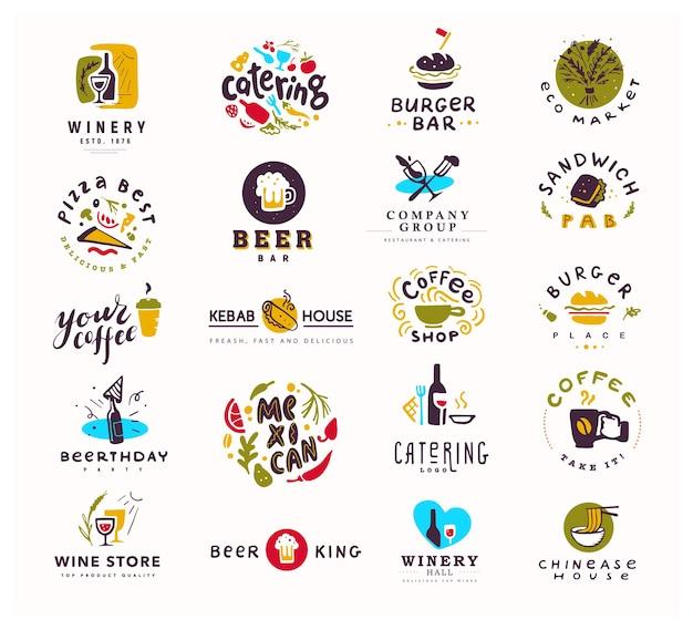 Коллекция логотипов продуктов питания и алкоголя, изолированные на белом фоне.