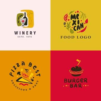 白い背景で隔離の食品とアルコールのロゴセットのコレクション。