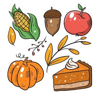 Коллекция еды осень, изолированные на белом