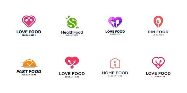 Коллекция логотипов еды для ресторана