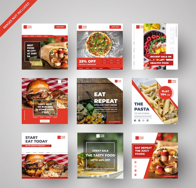 디지털 마케팅을위한 음식 및 식당 배너 모음