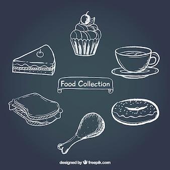 Коллекция продуктов питания в стиле досок