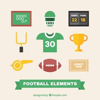 Коллекция футбольных элементов в плоской конструкции