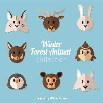 フラットデザインの森林動物のコレクション
