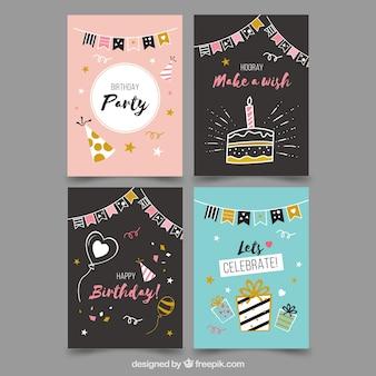Коллекция из четырех поздравительных открыток в плоском дизайне