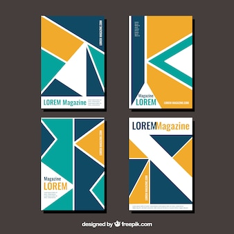 Collection of four covers with geometric shapes