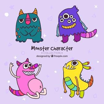 4つの創造的なモンスターキャラクターのコレクション