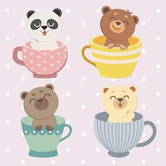 淡いピンクの背景イラストのカラフルなカップの中の4つのかわいいクマのコレクション