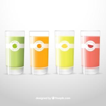 Коллекция из четырех фруктовых соков