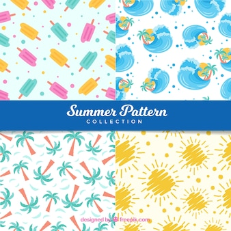 4 개의 현대 여름 패턴 컬렉션