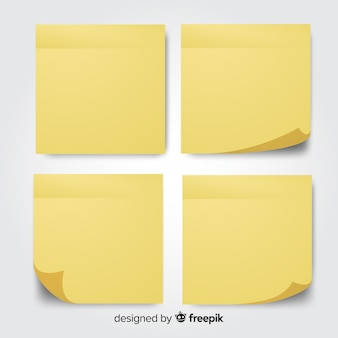 Collection of four post notes in realistic style