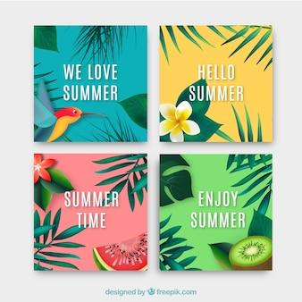 4つの現実的な夏のカードのコレクション