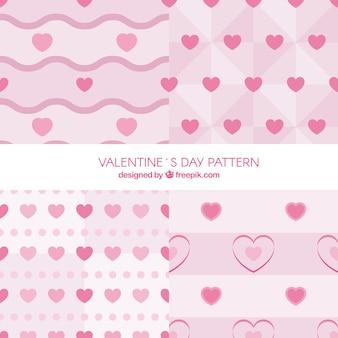 ピンクトーンの4つのバレンタインのパターンのコレクション