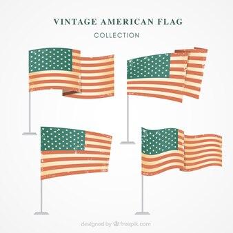 Коллекция из четырех старинных флагов соединенных штатов