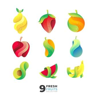 Коллекция свежих фруктов иллюстрации с красочным стилем