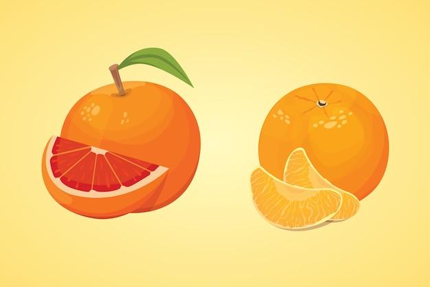 신선한 익은 오렌지와 귤 잎 오렌지의 컬렉션