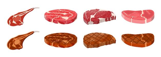 Сборник жареных стейков. говяжья вырезка. свиная рулька. кусочек стейка, свежее мясо. сырая свиная отбивная. векторная иллюстрация в плоском стиле