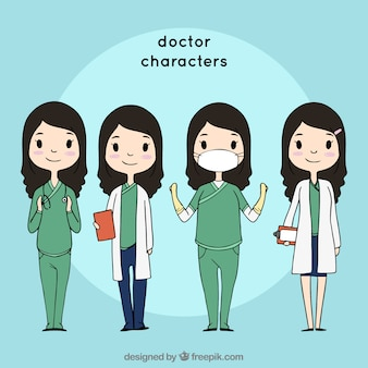 Collection of friendly female doctor characters