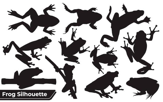 Коллекция силуэтов игроков-лягушек в разных позах