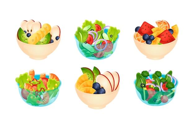 과일 및 샐러드 그릇 모음