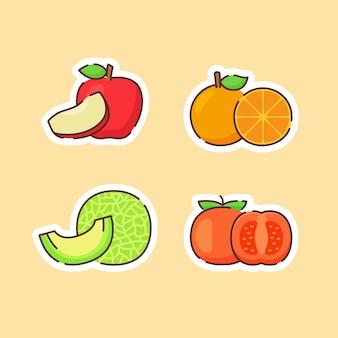 베이지 색에 고립 된 과일 컬렉션