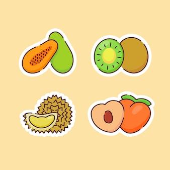 ベージュで分離された果物のコレクション