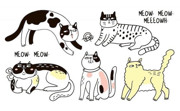 面白い猫のコレクション。分離された様々な漫画猫の束手描きイラスト