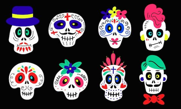 할로윈과 할로윈을 위한 검은 배경에 다양한 종류의 재미있는 다채로운 만화 두개골 컬렉션입니다.