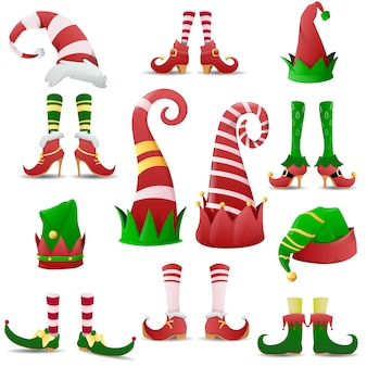 Коллекция забавных эльфов, туфель и шляп на рождество