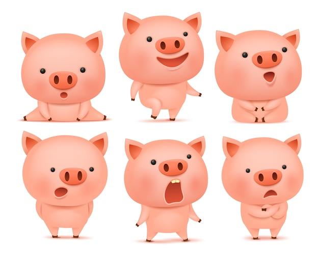 さまざまな感情の面白い豚cmoticonキャラクターのコレクション