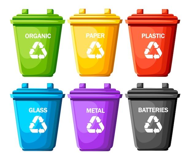 분류 된 쓰레기와 함께 쓰레기통의 수집. 유리, 금속, 배터리, 플라스틱, 종이, 유기농 용기 6 개. 생태학 및 재활용 개념. 흰색 배경에 그림