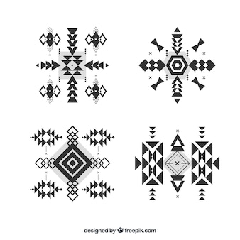 Сборник геометрических форм этнических в плоском стиле