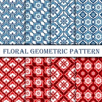幾何学的な花デコシームレスパターンのコレクション