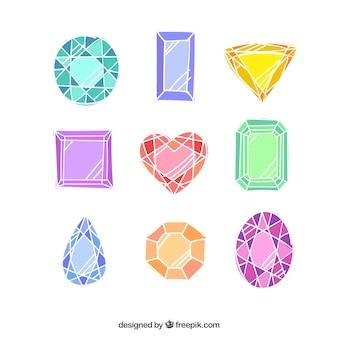 幾何学的な宝石のコレクション