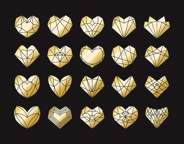 幾何学的な黄金のハートの形のコレクション。