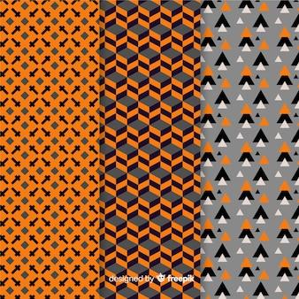 기하학적 할로윈 패턴의 컬렉션