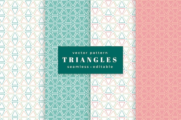 幾何学的な三角形のシームレスなパターンのコレクション